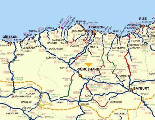 Image result for gümüşhane haritası