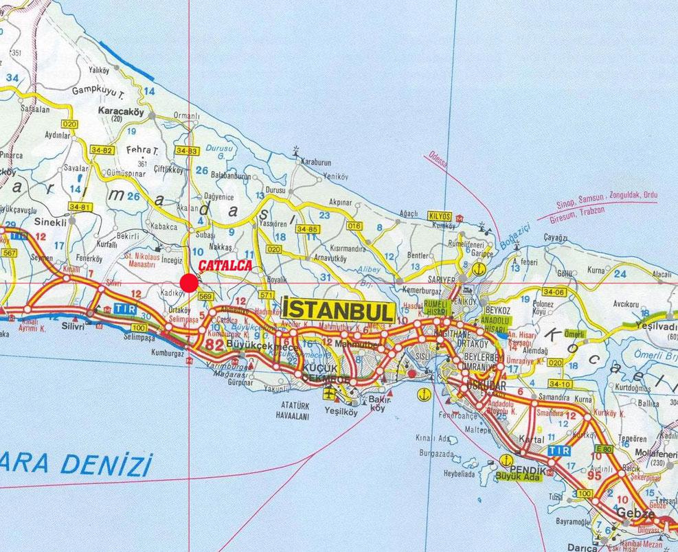 istanbul fiziki haritası