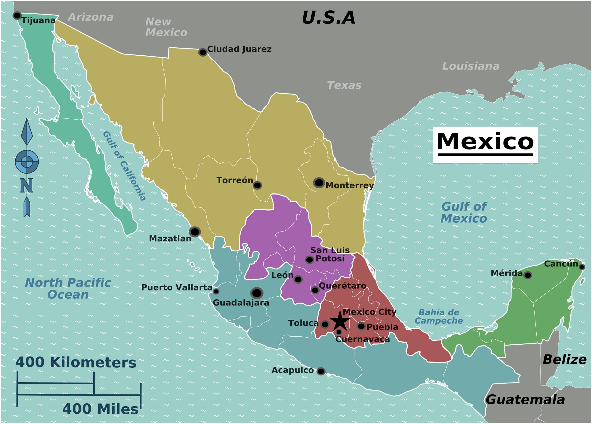 meksika_bolgeler_harita